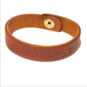 """Hand-tooled leather """"Just Breathe"""" cuff bracelet"""